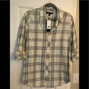 Banana Republic - Grey/Silver Button Down, Size M.